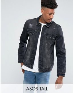 Tall Denim Jacket In Black Wash With Rips