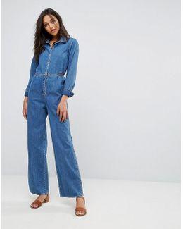 M.i.h Jeans Icon Denim Wide Leg Jumpsuit
