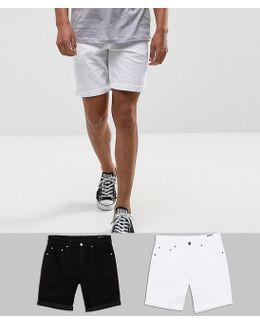 2 Pack Slim Denim Shorts In White And Black Save