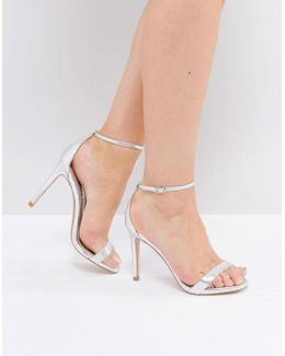Stecy Silver Snake Embossed Barely There Sandals