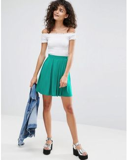 Mini Skater Skirt With Box Pleats
