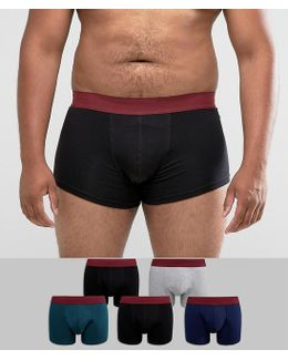 Plus Hipster With Burgundy Waistband 5 Pack