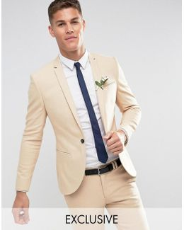 Slim Wedding Suit Jacket In Stone