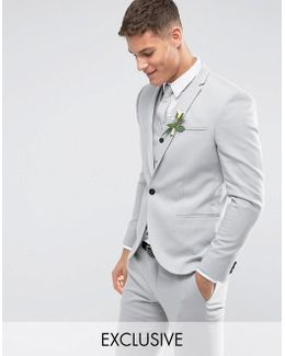 Slim Wedding Suit Jacket In Pale Grey