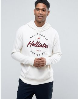Logo Print Hoodie Regular Fit In White