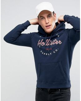 Logo Print Hoodie Regular Fit In Navy