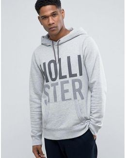 Logo Print Hoodie Modern Athletic Print Regular Fit In Grey Marl