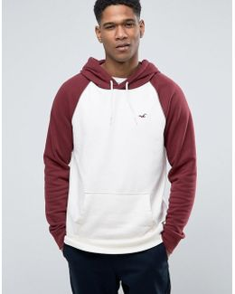 Icon Logo Hoodie Contrast Raglan Sleeves Regular Fit In Oatmeal/burgundy
