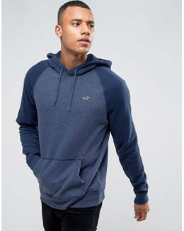Icon Logo Hoodie Tonal Raglan Sleeves Regular Fit In Navy Marl