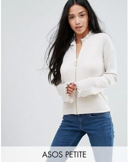Cardigan With Zip Through And Fluted Sleeves
