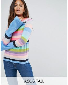 Sweater With Multi Stripe And Fluted Sleeves