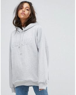 Jeans Oversized Hoody With Chest Logo