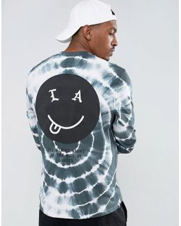 Relaxed Long Sleeve T-shirt With Face Back Print And Tie Dye