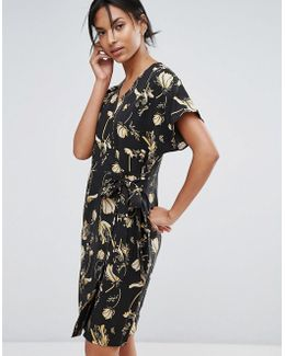 Elay Leaves Print Wrap Dress