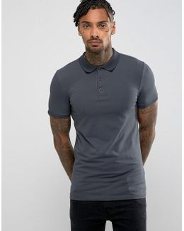 Extreme Muscle Polo In Jersey In Washed Black