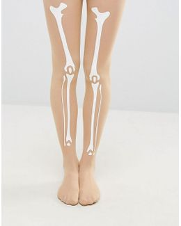 Halloween Skeleton Bone Print Tights