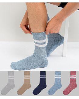 Tube Style Socks In Twisted Yarn 5 Pack