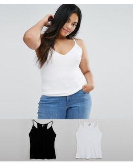 Skinny Strap Cami In Rib 2 Pack Save 10%