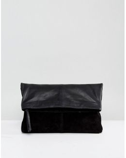 Leather Soft Foldover Clutch Bag