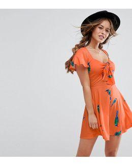 Bow Front Mini Skater Dress In Parrot Print