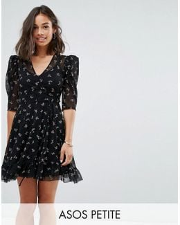 Mini Mesh Wrap Dress With Floral Ditsy Print