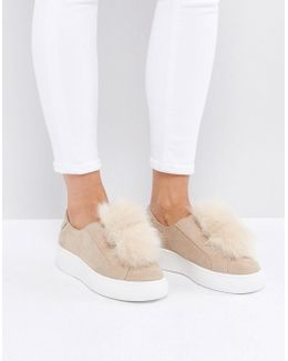 Byranne Nude Fluffy Trainers