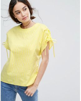 Ruched Sleeve Stripe T-shirt