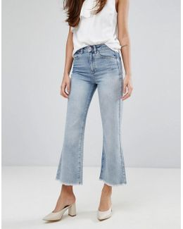Bleached Cropped Flare Jeans