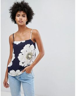 Oversized Floral Print Square Neck Cami
