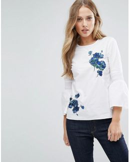 Flare Sleeve Floral Embroidered Top