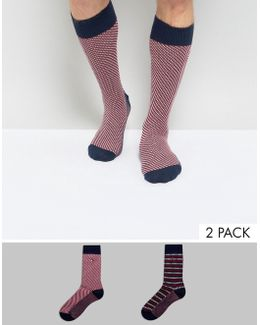 Tommy Hifliger 2 Pack Socks In Stripe