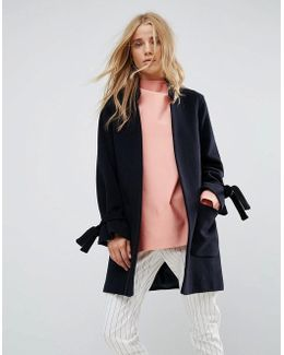 Wool Blend Notch Collar Coat With Tie Cuffs
