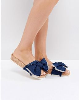 Denim Blue Flat Sandals