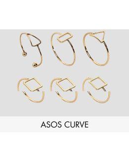 Pack Of 6 Fine Open Shape Rings