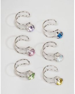 Pack Of 6 Pretty Rainbow Ear Cuffs