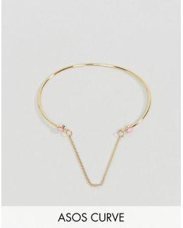 Faux Opal Stone Linked Chain Cuff Bracelet