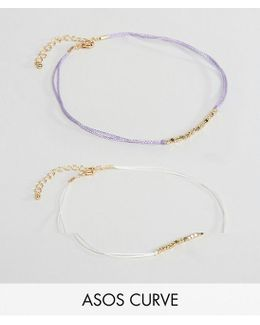 Pack Of 2 Beaded Anklets