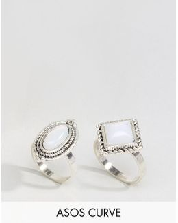 Pack Of 2 Irridescent Stone Rings