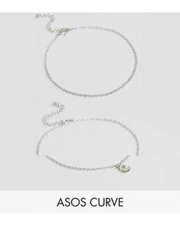 Exclusive Pack Of 2 Moon And Star Charm Anklets