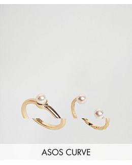 Pack Of 2 Vintage Style Pearl Rings