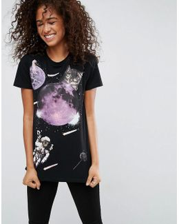 T-shirt With Space Cat Print