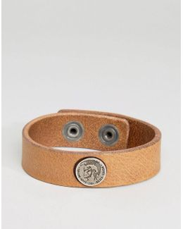 A-shoot Logo Leather Bracelet In Brown
