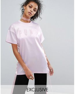 Exclusive To Asos Longline Satin Lace Up T-shirt
