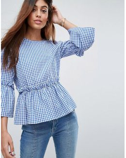 Cotton Ruffle Smock Top In Gingham