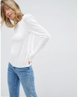 Sweater With Crew Neck And Shoulder Pad