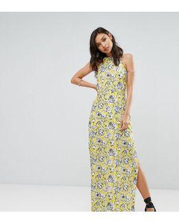 Halterneck Floral Print Maxi Dress