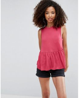 Sleeveless Top With Ruffle Hem