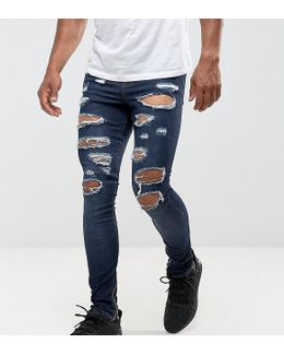 Super Skinny Jeans In Dark Blue With Distressing And Zip Ankle
