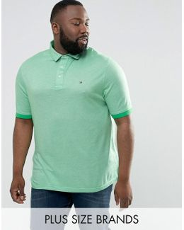 Plus Boris Polo Slim Fit Flag Logo In Green