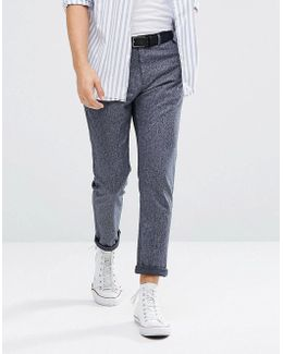Tapered Fit Pants With Pleat Detail